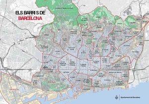 Mudanzas con grúa en Barcelona Mapa barrios